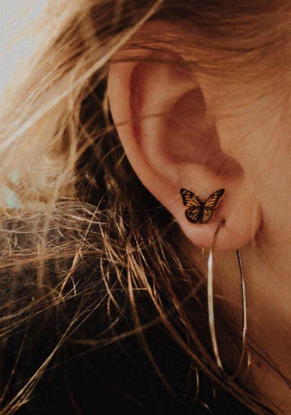 ALLERGY FREE STERLING SILVER Earring Stud Lifelike Butterfly Earring Stud