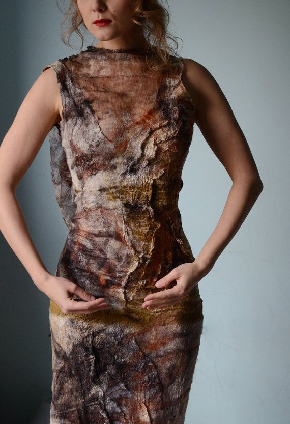 Eco fashion dresses Nuno felted and eco printed dress from natural silk and wool dyed with plants OOAK