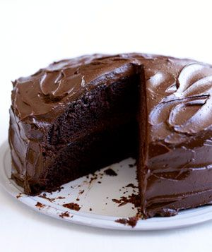 Old-Fashioned Chocolate Cake with Chocolate Ganache Frosting!!