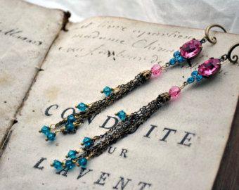 Marie-Antoinette very long tassel earrings shoulder dusters in antique gold with pink and blue vintage crystal jewel stones - Edit Listing - Etsy