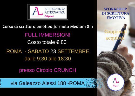 Il corso si svolgerà a ROMA, sabato 23 settembre 2017 dalle ore 9:30 alle ore 18:30 PRESSO il il Circolo CRUNCH - via Galeazzo Alessi 188 DOCENTi: Pablo T - Michela Zanarella - Diego Romeo