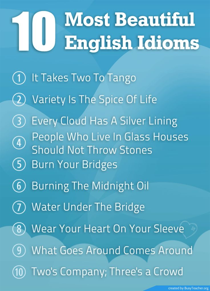 Poster for Teaching Idiom. 10 Most Beautiful English Idioms.