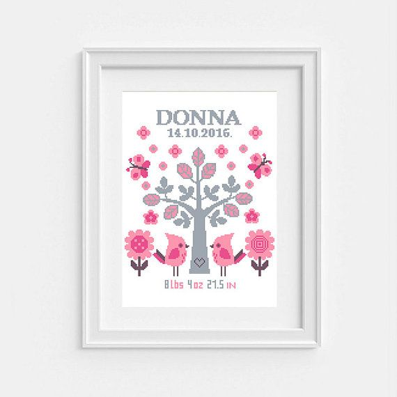 Birth announcement Nursery cross stitch pattern Baby Birth Sampler Baby cross stitch Birth cross stitch Personalized Newborn Tree of Life Customizable Tree with Birds, Baby Birth Personalized Gift, PDF Instant download, Newborn Tree of Life. Moderm Birth Record Bird in Pink for a Nature