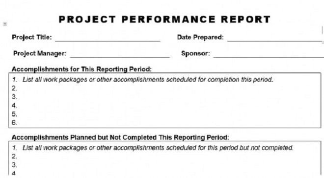 Project Performance Report Template Project Management
