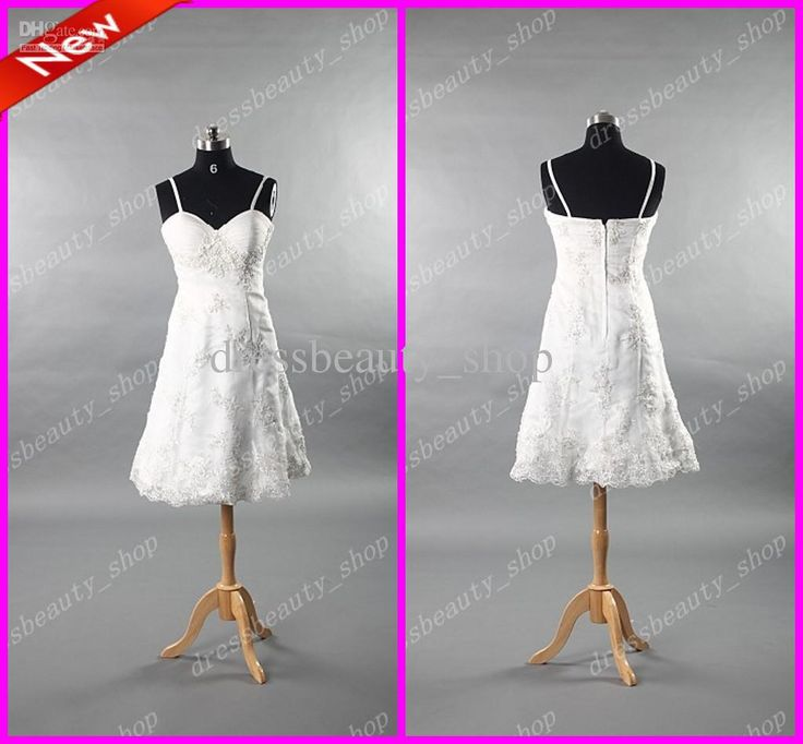 Wholesale Wedding Dresses - Buy 2013 Organza Spaghetti Short Knee Length Beach Wedding Dresses Beaded Appliques Simple Cheap A-Line, $81.24 | DHgate.com