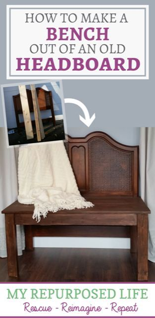 This quick and easy repurposed furniture headboard bench project is something you can make this weekend. Step by step tuorial as well as a video tutorial.