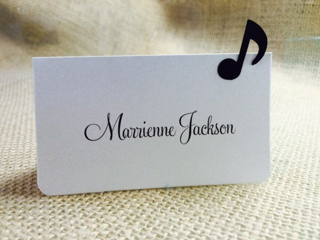 These would be super easy to make....10 Music Place Cards / Escort Cards, Music Note, Black and White, Music Theme, Music Themed Party, Musician Party, Music Party, Weddings by zuCards on Etsy https://www.etsy.com/listing/224820808/10-music-place-cards-escort-cards-music