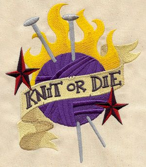 Knit or Die | Urban Threads: Unique and Awesome Embroidery Designs