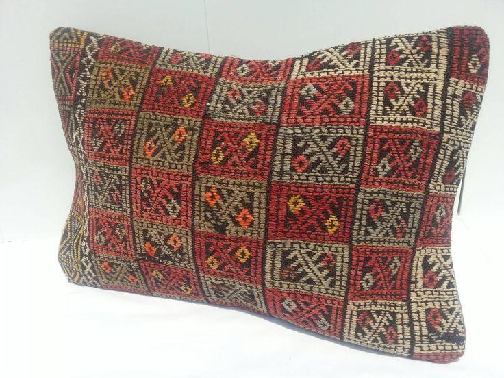 Vintage Kilim Pillow Lumbar, Antique handmade wool Kilim cushion, Kilim Lumbar Pillow Handwoven Decorative Turkish Kilim Pillow Lumbar 16x24 by Simavrug on Etsy