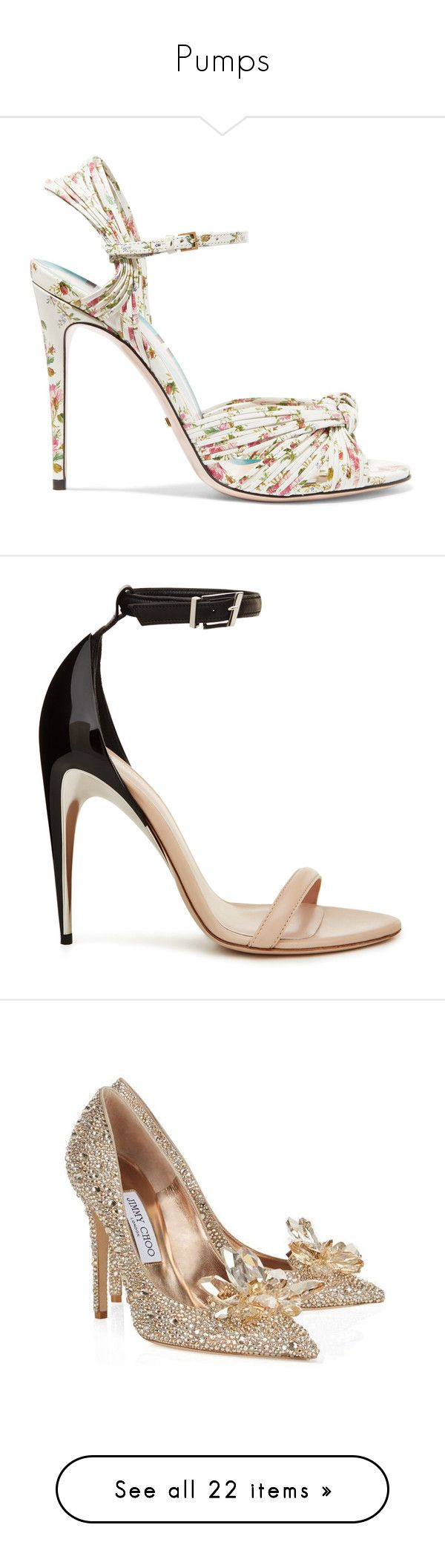 """Pumps"" by luciaborrayo on Polyvore featuring shoes, sandals, heels, white, multi color high heel sandals, leather high heel sandals, gucci sandals, gucci shoes, strappy leather sandals y beige"