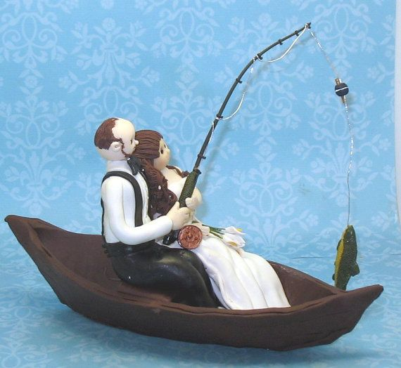 fishing cake toppers custom wedding cake topper fishing theme by 4084