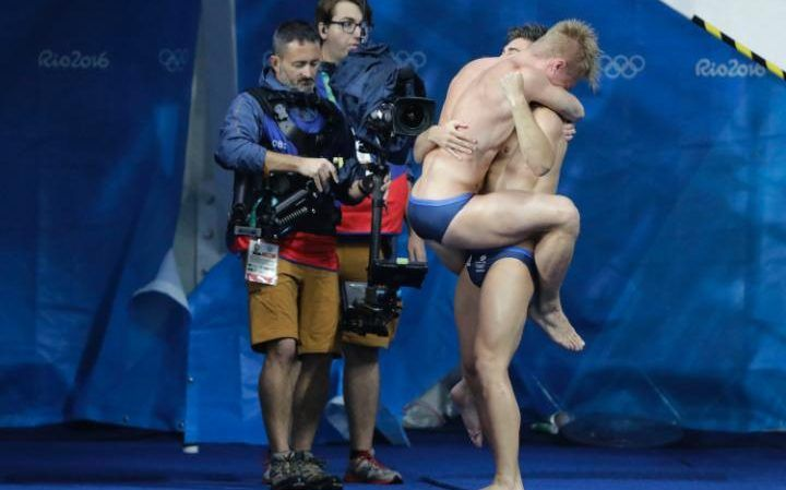 Britain's Jack Laugher and Chris Mears celebrate after winning the men's…