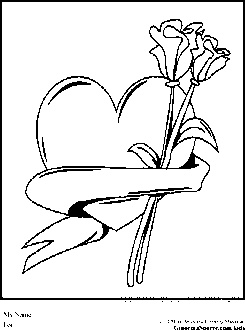 Valentines Day Coloring Pages Heart And Flowers