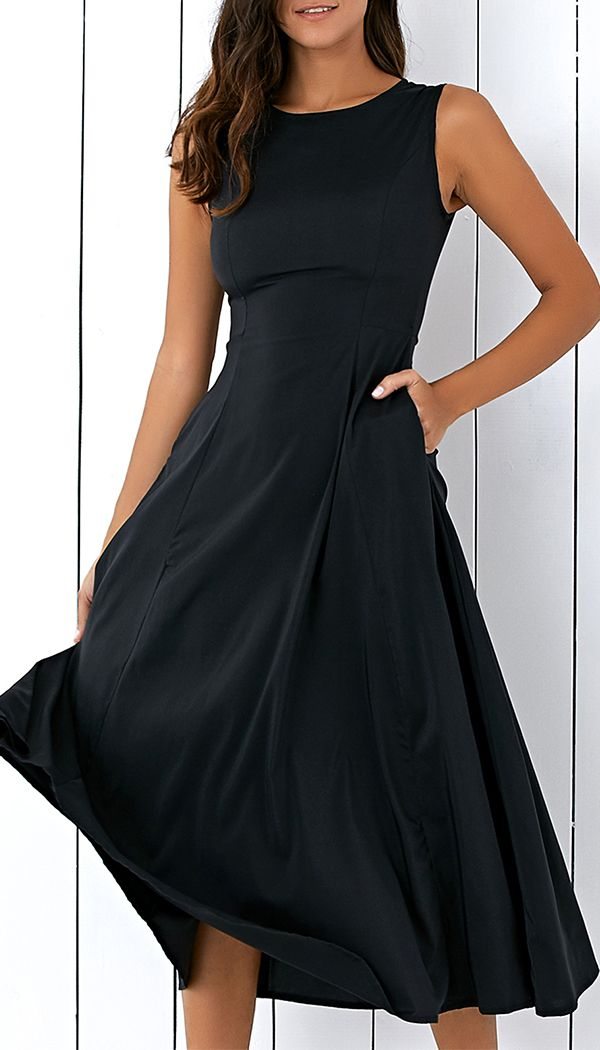 Casual Round Neck Sleeveless Loose Fitting Midi Dress For Women