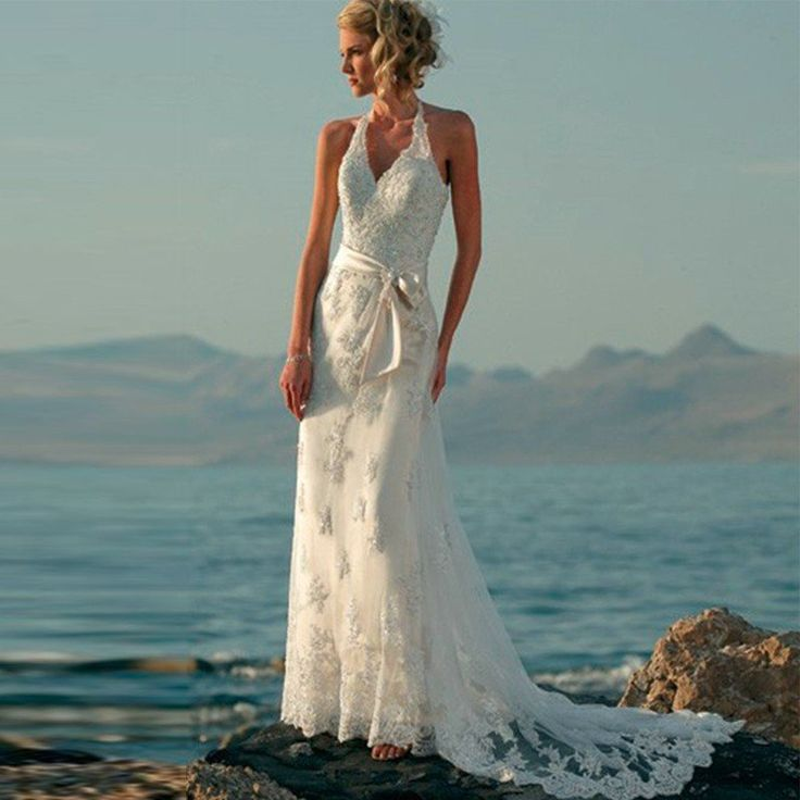 boho lace tank style beach wedding dress autumn collection