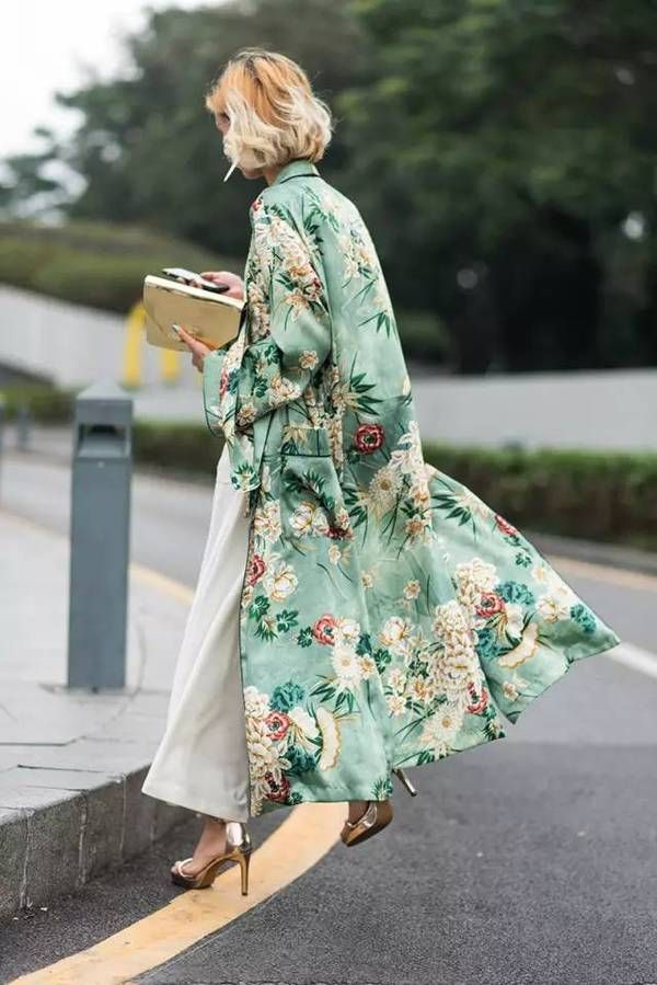 Printed long kimono - Zara