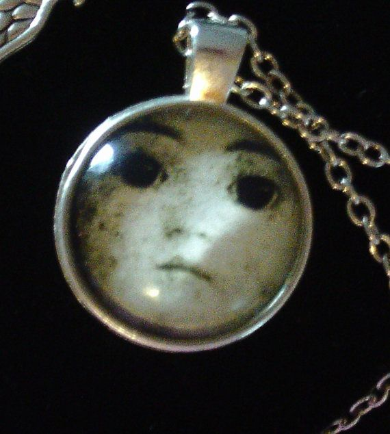 Creepy Baby Doll Face Necklace Cupid Angel by FromtheAshesVintage