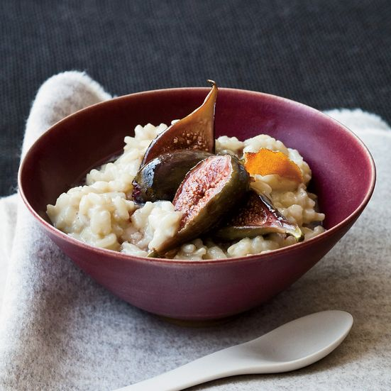 Soy Milk-Arborio Rice Pudding with Poached Figs Recipe - Joe Bastianich | Food & Wine