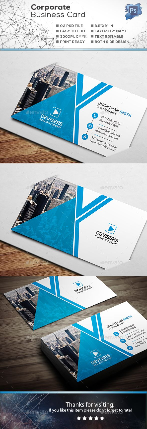 #Corporate #Business Card - Corporate Business #Cards Download here:  https://graphicriver.net/item/corporate-business-card/19178591?ref=alena994