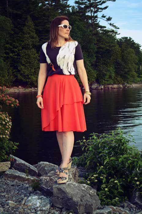 The Not So Impossible Design Challenge. Frakenpattern Skirt -  half circle + half a-line dress on www.duellingdesigns.com