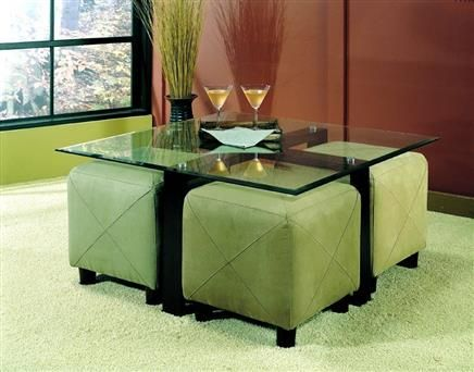 Casual Black Glass Coffee Table W/Ottomans Set