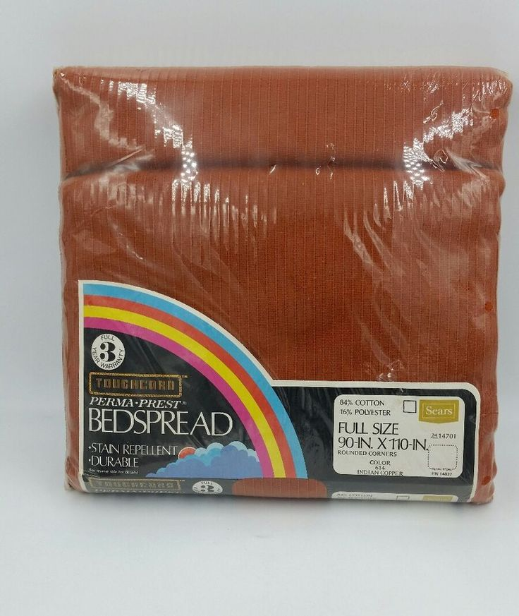 NEW Vintage Sears Toughcord Bedspread Full Size Indian Copper NIP! #Sears