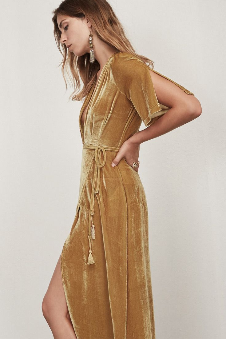 Gold Velvet Party Dress