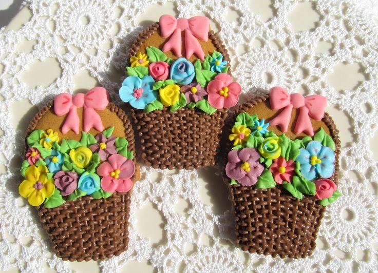 Flower basket, burlap cookie