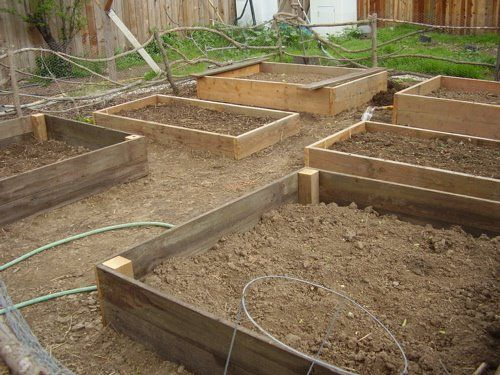 Raised beds:  simple plan.  I'll use recycled fence boards from the windfall (um, the wind knocked down an old fence last winter)