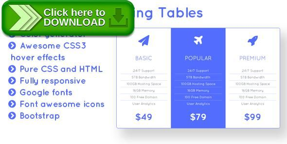[ThemeForest]Free nulled download Flight - Responsive Bootstrap Pricing Tables with Color Generator from http://zippyfile.download/f.php?id=43888 Tags: ecommerce, color generator, css3, font awesome, light pricing tables, no javascript, pricing, pricing table, pricing tables, pure css, quicksand, responsive pricing tables, web element