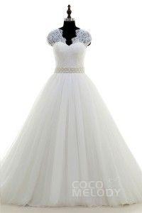 [ USD$ 369 ] Classic A-Line V-neck Court Train Tulle Ivory Cap Sleeve Wedding Dress Sashes CWXT16003