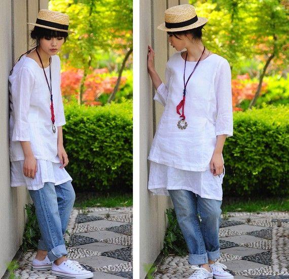 Deux couches de longue Blouse en robe Style blanc / ethnique / 21 couleurs / toutes les tailles