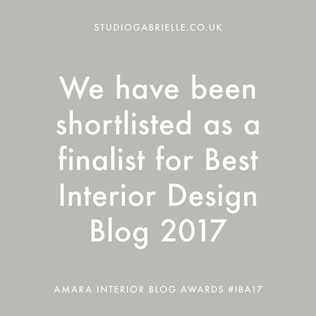 @studiogabrielleuk We have a BIG announcement to make. Thanks to your votes, we have made it to the shortlist as a finalist for 'Best Interior Designer Blog' at the Amara Interior Blog Awards 2017. A massive thank you has to be said to everyone who took the time to cast their vote for Studio Gabrielle. We will be joining the finalists from all categories at The Design Museum for the event of the year with canapés, cocktails and the announcement of this year's winners.  The shortlist will be…