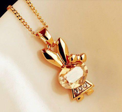 1 Piece Korea Sweetie Crystal Rhinestone Chic Gold Bunny Rabbit Pendant Neckalce