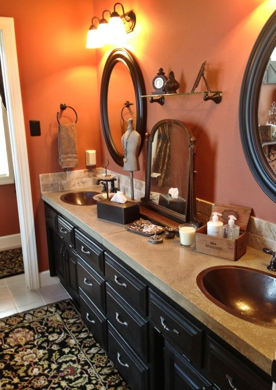 Master bathroom concrete countertops with travertine stone for Master bathroom countertops