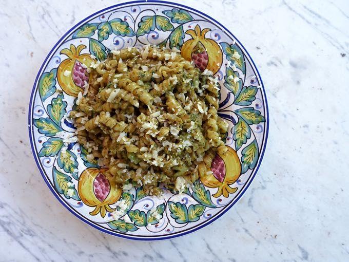 Broccoli carbonara-ish pasta: Pasta with broccoli, eggs and cheese.