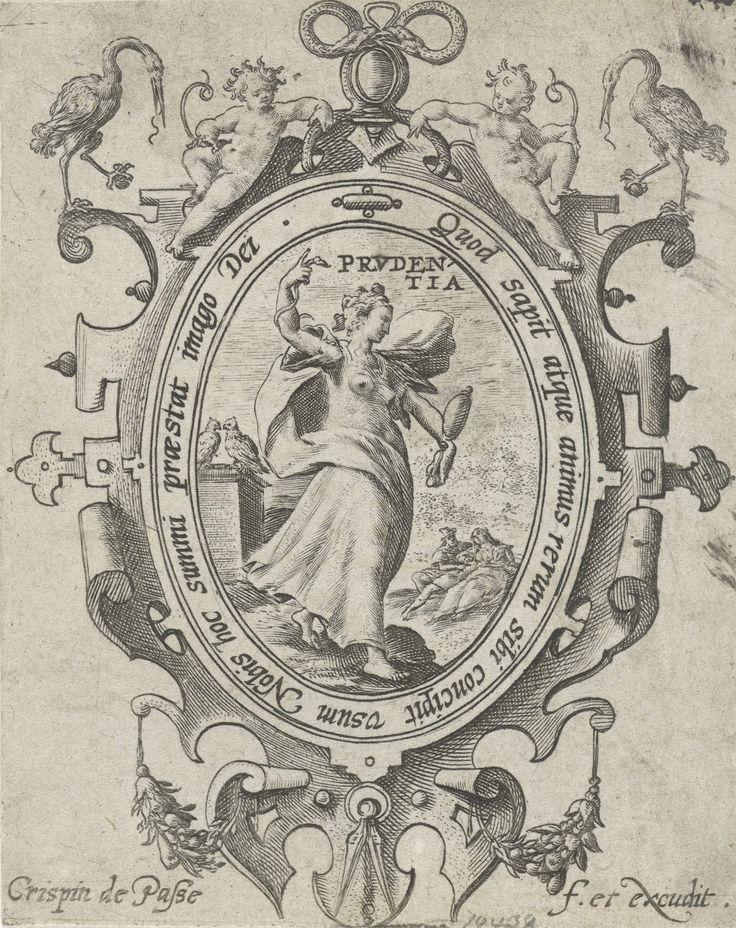 Crispijn van de Passe (I) | Voorzichtigheid, Crispijn van de Passe (I), 1574 - 1611 | Landschap met de vrouwelijke personificatie van Voorzichtigheid (Prudentia), een van de vier kardinale deugden. In haar handen draagt ze haar persoonlijke attributen: de spiegel en de slang. Naast haar twee duiven die elkaar aankijken, als symbool van eendracht. Op de achtergrond een verliefd paar. De voorstelling is gevat in een ornamentele omlijsting. Prent uit een serie met de zeven deugden.