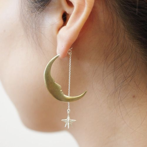 月とお星さまピアス シルバー | sasakihitomi