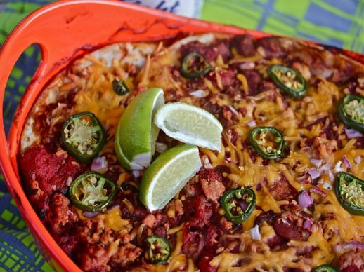 Mexican Chicken Lasagna With Chorizo Beans