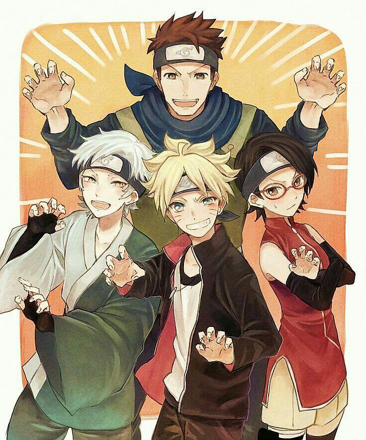 Team Konohamaru, Boruto, Sarada, Mitsuki; Naruto