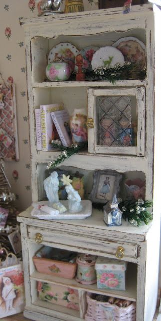 Miniature Christmas Decorated Hutch
