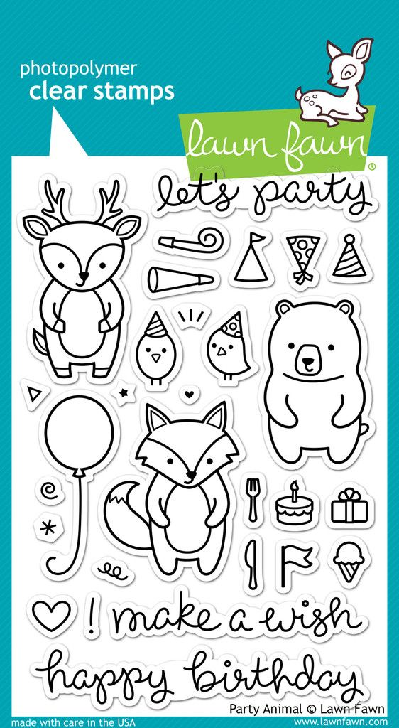 "Lawn Fawn ""Party Animal"" Stamp Set 