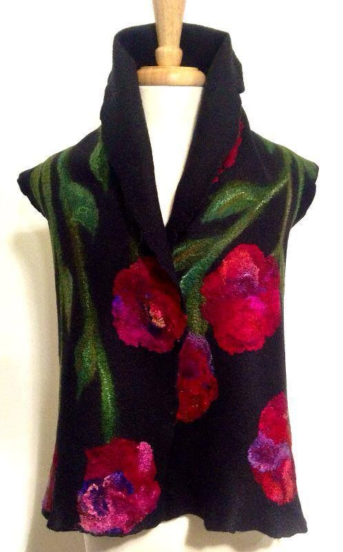 Felted scarf by Robbin Firth of HeartFelt silks