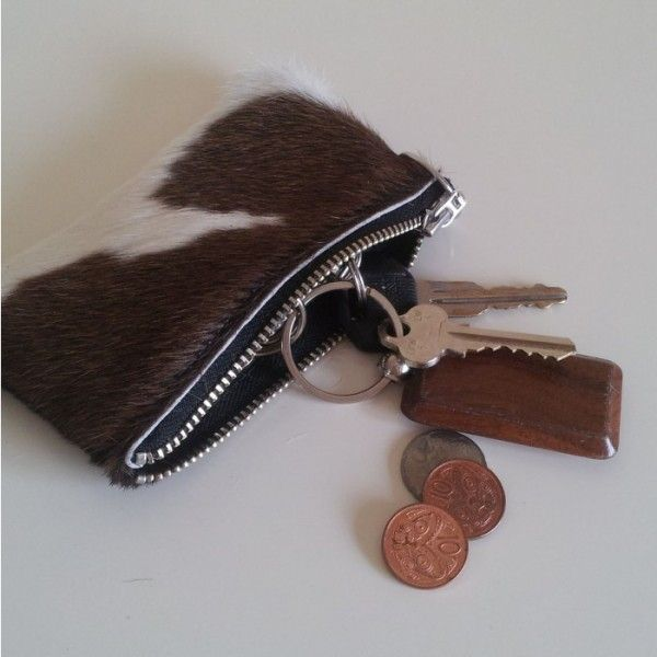 Brown and White cowhide Leather Purse from Florian Rhodes - Canterbury - List Sell Trade
