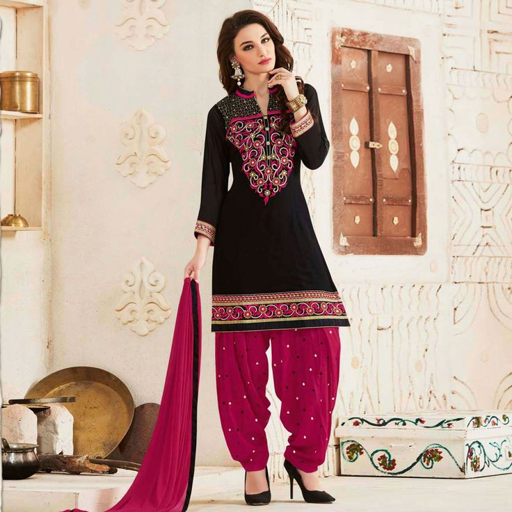 Buy Black Georgette Patiala Suit - Online Women Ethnic Wear At Peachmode.com