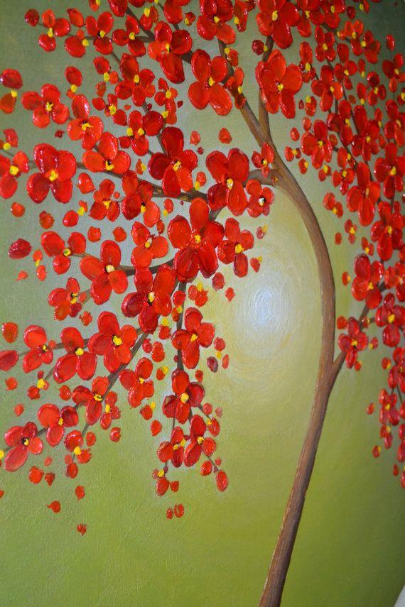 Floraison rouge abstrait fleur arbre original peinture sur 24 x 20 toile ovale. Agrafez les côtés libres. Bords peint en noirs. Prêt à raccrocher.