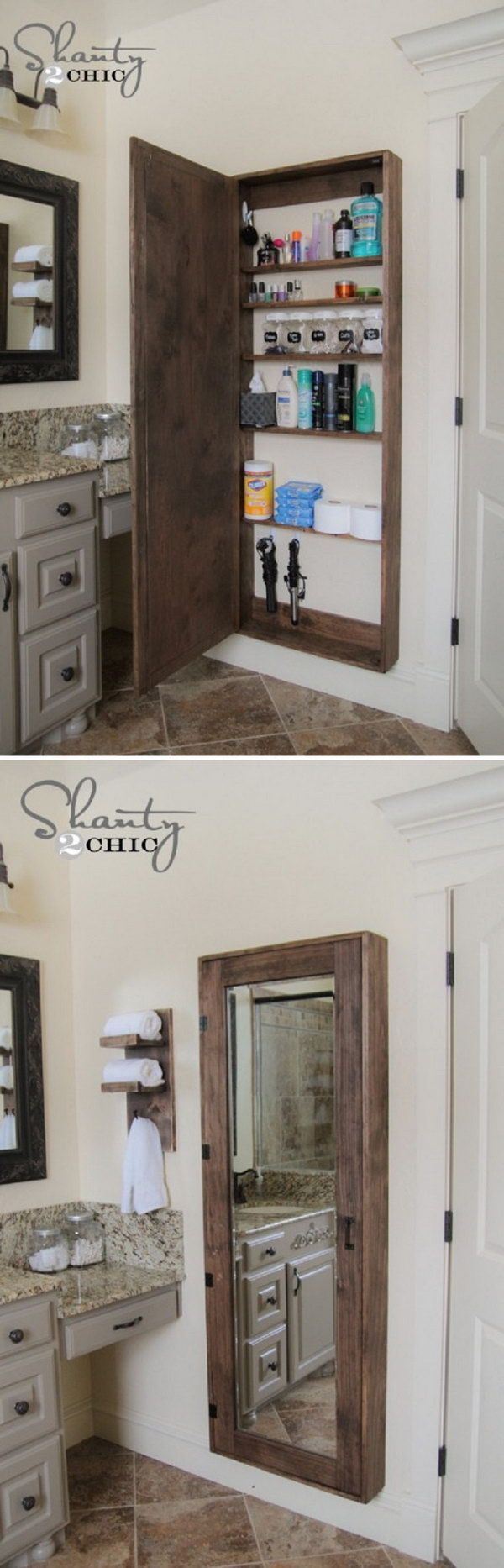 A big bathroom storage case behind the mirror to hold all the goodies. http://hative.com/clever-bathroom-storage-ideas/