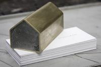 Concrete (brass) house paperweight.  Part of studiokyss concrete desktop range, 2013.  Studiokyss - object & jewellery   www.kyss.net.au
