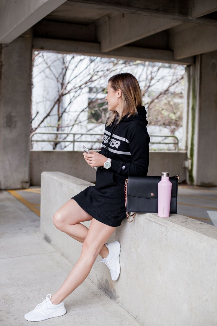Athleisure Outfit | Sweater dress | Casual outfit | Starter sweater dress | Uptown with Elly Brown #ad