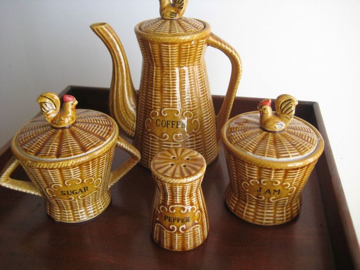 Attractive Set Of Ceramic Kitchen Containers (Plus extra ceramic lidded Honey Pot) EXTRA ITEM Ceramic Honey Pot in shape of bee hive with surrounding raised images of bees and bee on top.
